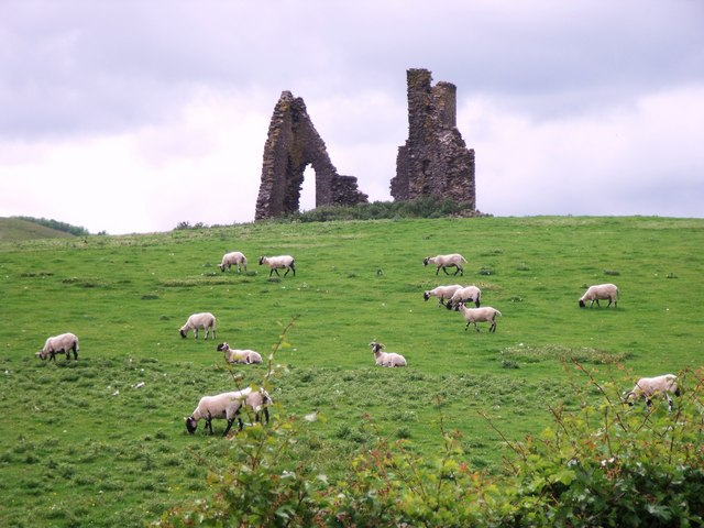 The ruins of Horsburgh Castle, built in the 16th century beside the River Tweed near the Scottish Borders area of Scotland