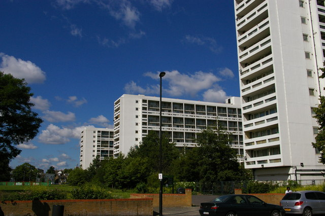The Loughborough Estate, looking west from Loughborough Road