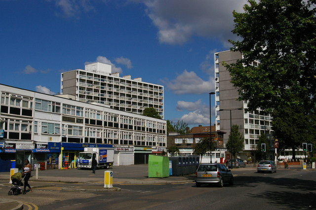 The Loughborough Estate, looking north-west along Loughborough Road
