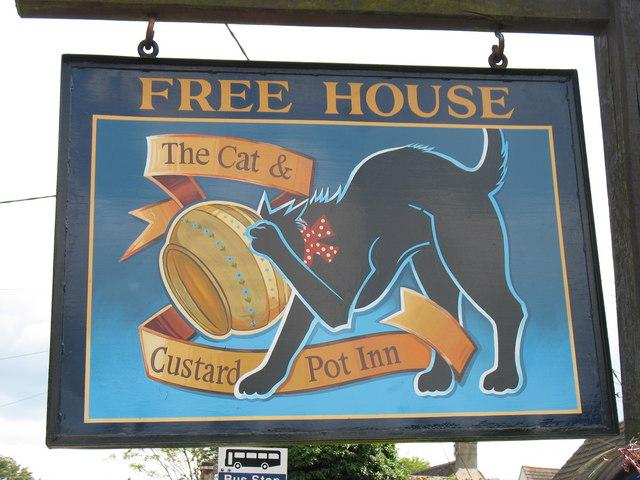The Cat & Custard Pot Inn sign, Shipton Moyne