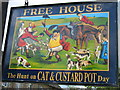 ST8989 : The Cat & Custard Pot Inn sign, Shipton Moyne by David Purchase