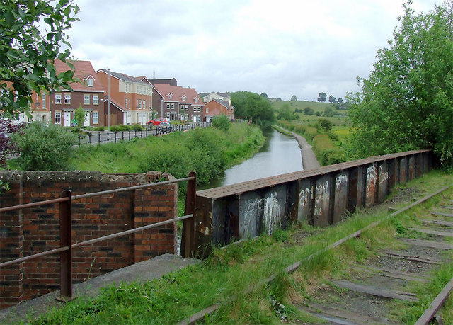 Canal and disused railway at Milton, Stoke-on-Trent