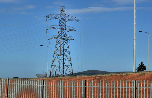 Pylon and power lines, south west Belfast (1)