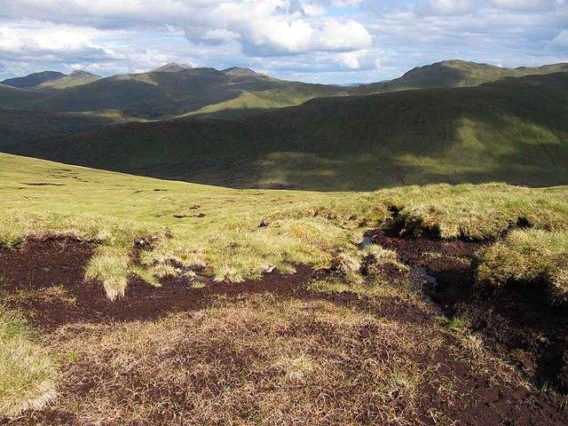 Boggy ground near Beinn nan Oighreag summit