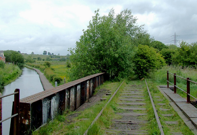Disused railway and canal near Milton, Stoke-on-Trent