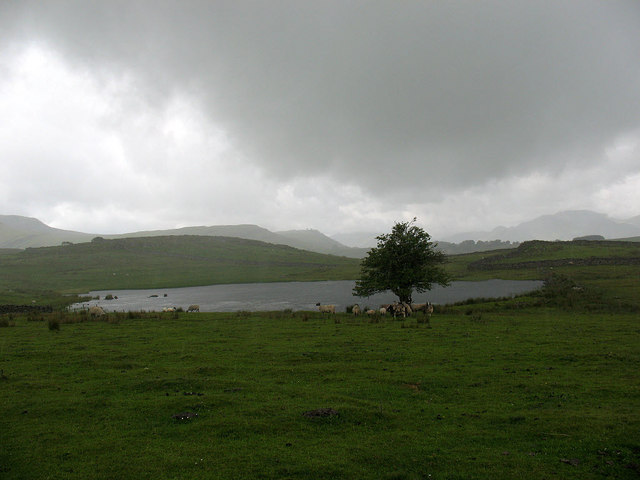 Tewet Tarn in a rainstorm