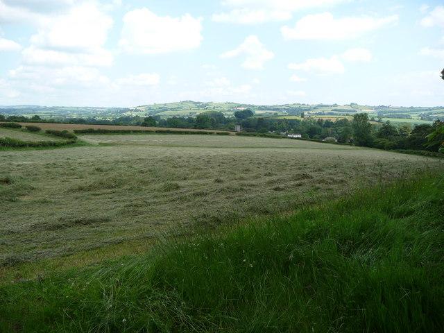 Llanfrynach church tower from the lane to Tregaer Farm