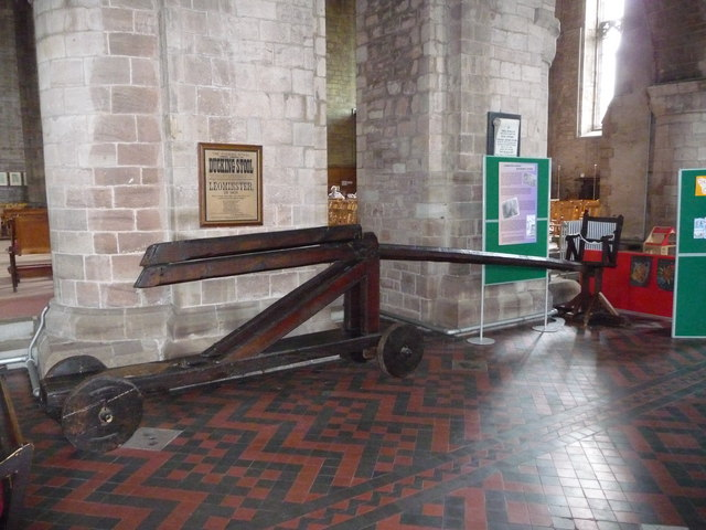 The ancient ducking stool in the Priory Church, Leominster