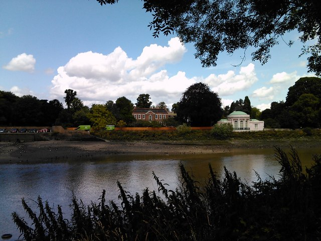 Buildings in Isleworth, viewed from the Thames Path