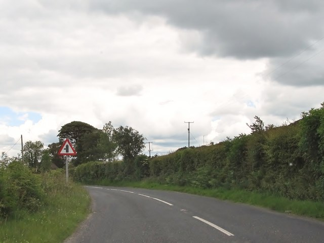 The B180  at the approach to the minor junction with Bog Road