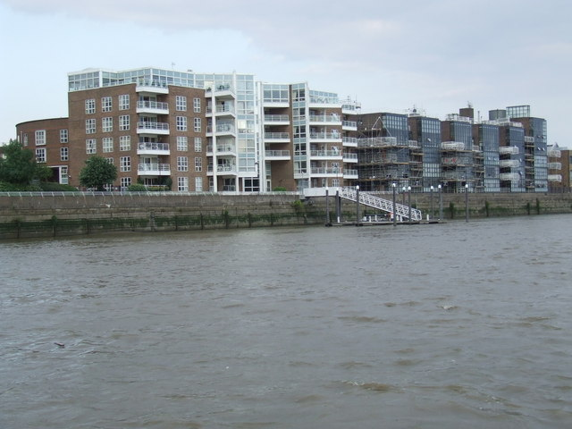 Flats on the river bank near Hammersmith