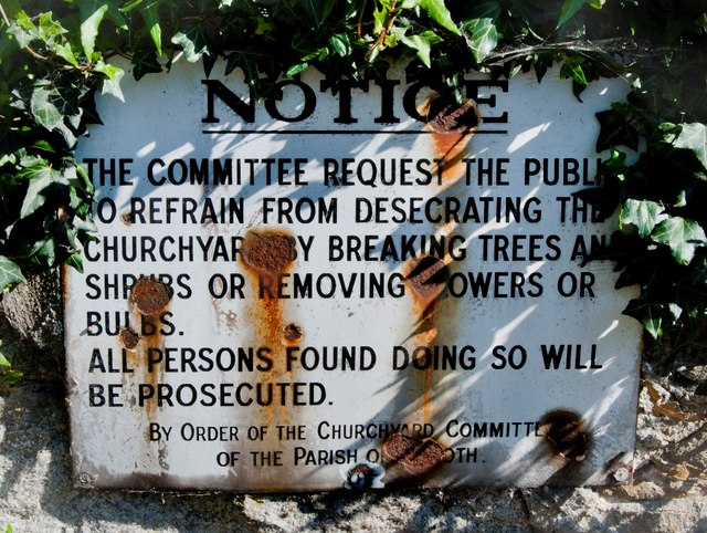 Sign outside Graveyard of West Anwoth Church
