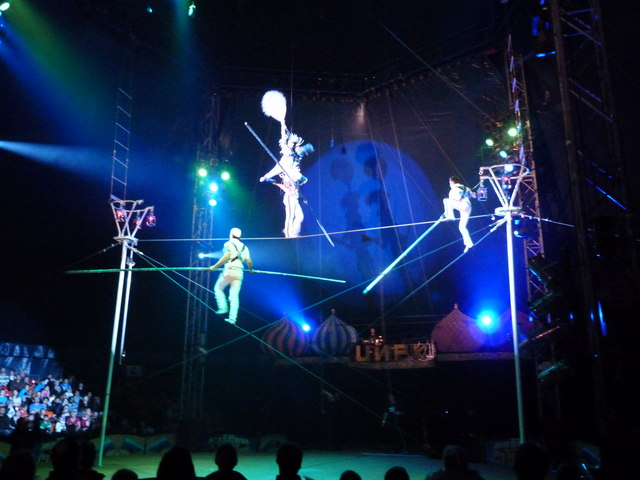 High - wire act at Moscow State Circus