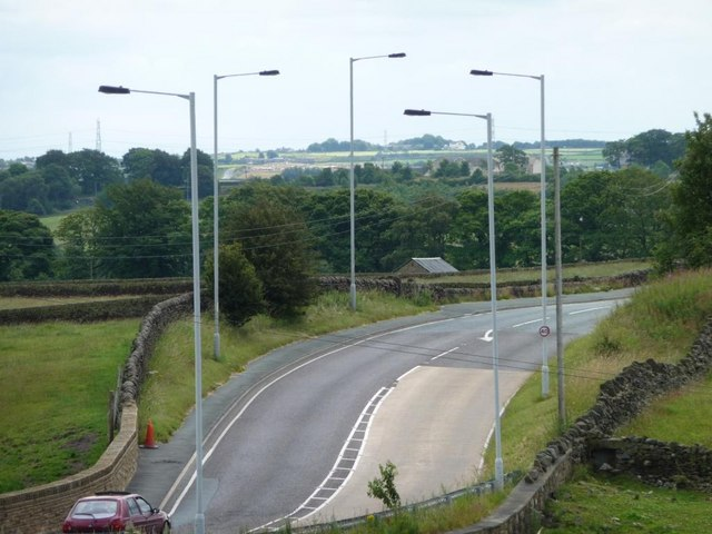 A well-lit bend on the A629