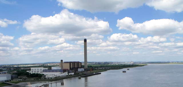 Jetties and Power station near Dartford