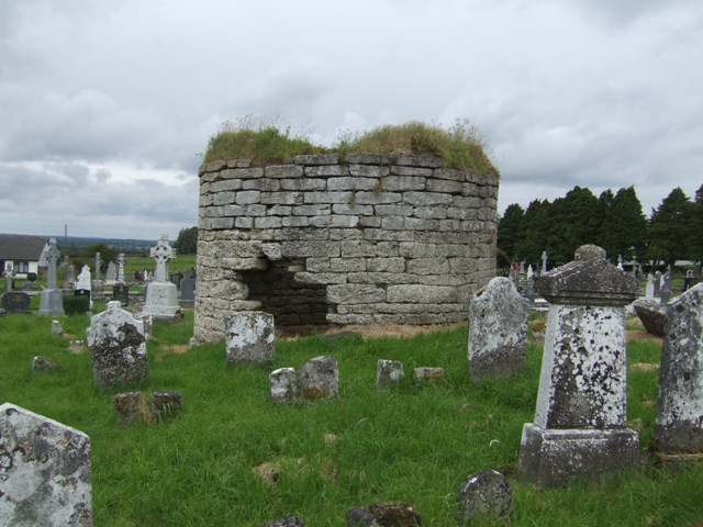 Base of round tower in graveyard