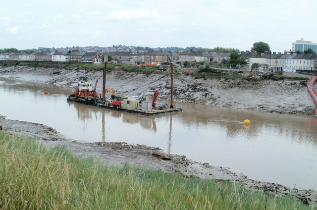 River dredging in progress, Newport
