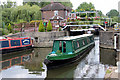 TL3806 : Narrow Boat leaving Lock, River Lee Navigation, Hoddesdon, Hertfordshire by Christine Matthews