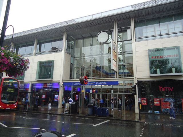 Entrance to Fulham Broadway underground station and shopping centre