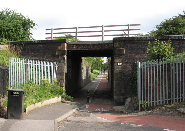 Radford Bridge Road: the south side of the railway bridge