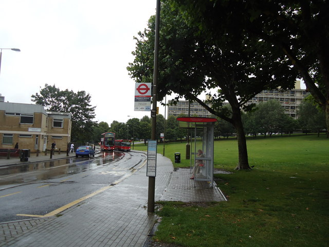 Bus stop, Danebury Avenue. London SW15