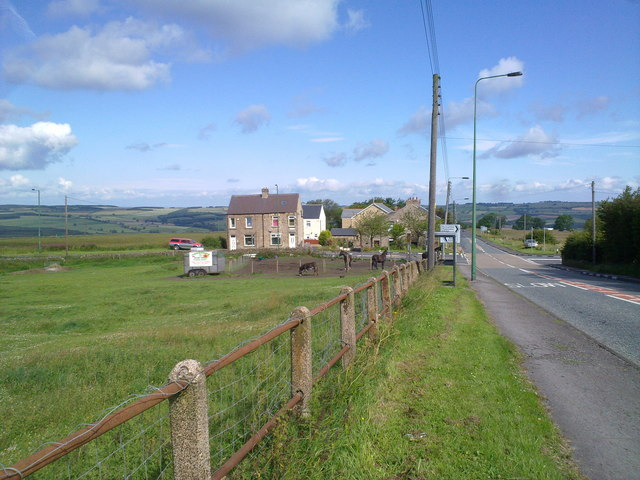 View of the crossroads at Medomsley Edge