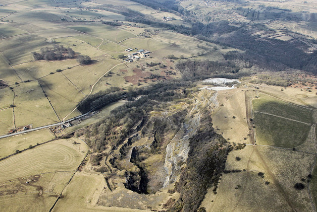 Aerial view of Hopton Wood Quarry