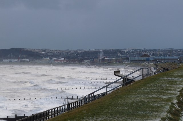 A wintry North Sea lashes Aberdeen beach