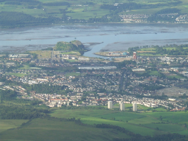 Dumbarton, River Leven and River Clyde from the air