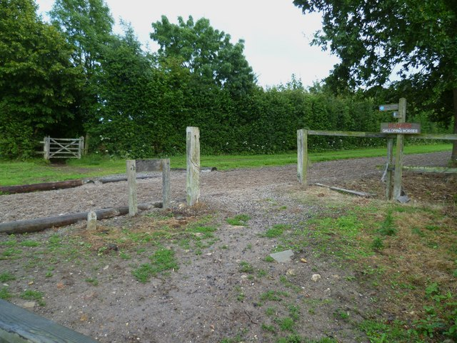 Bridleway crosses gallops near Barns Farm (2)