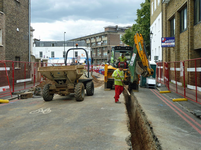 Trenching in Stockwell Park Road
