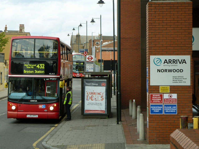 Outside Norwood bus garage