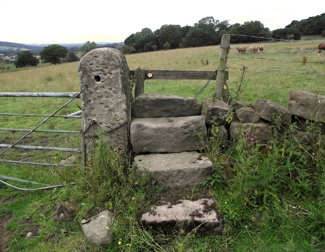 Stone stile and gatepost
