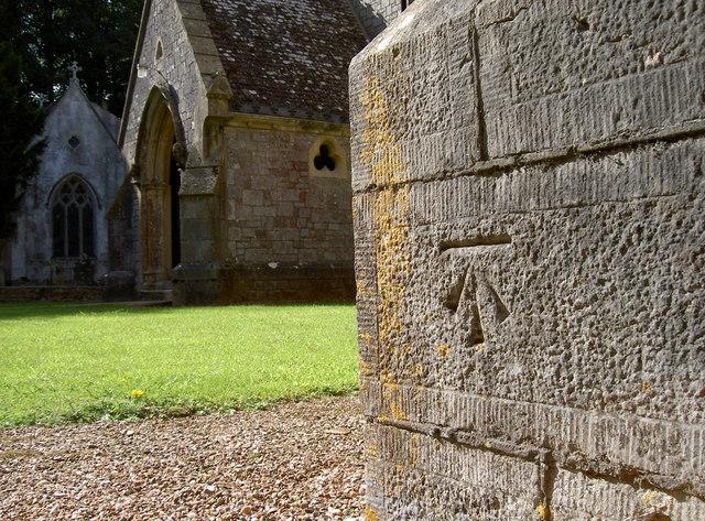 Benchmark on St Mary's church, Bicton Park