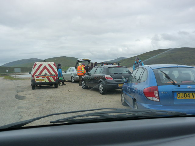 Whale rescue team and helpers by the Kyle of Durness
