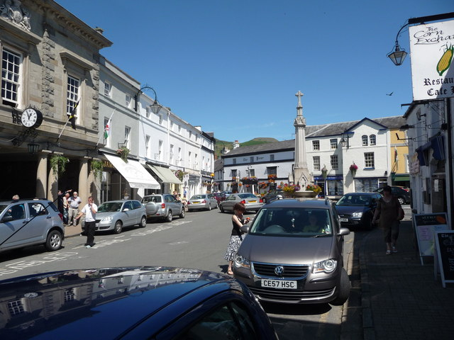 Part of the High Street in Crickhowell