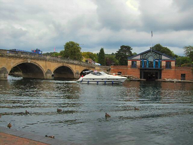Boat passing Henley Bridge