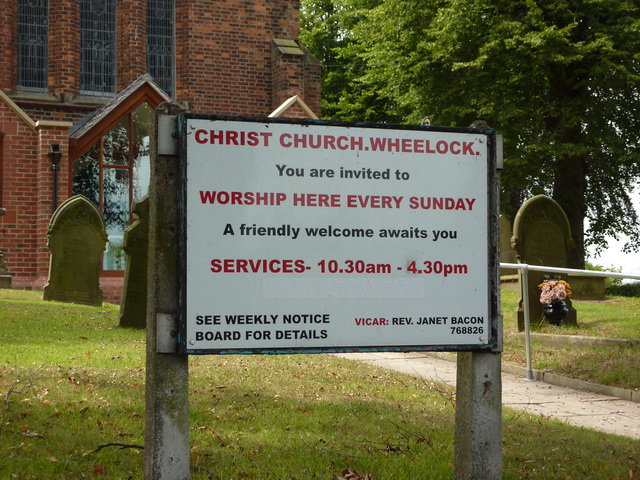 Christ Church, Wheelock, Sign