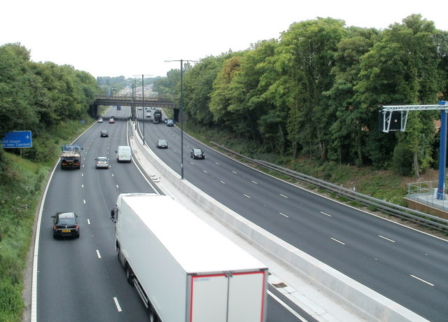Motorway railway bridge viewed from Bassaleg Road, Newport