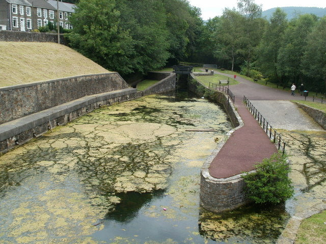 Patterns in the algae, Neath Canal near Resolven