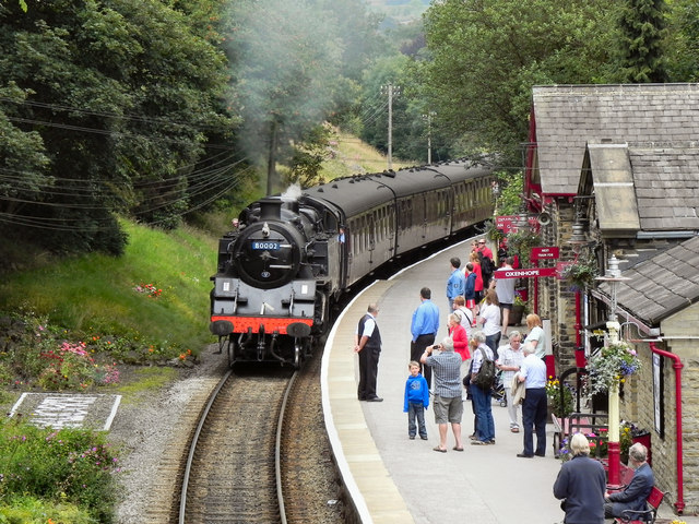 Steam Train Arriving at Haworth