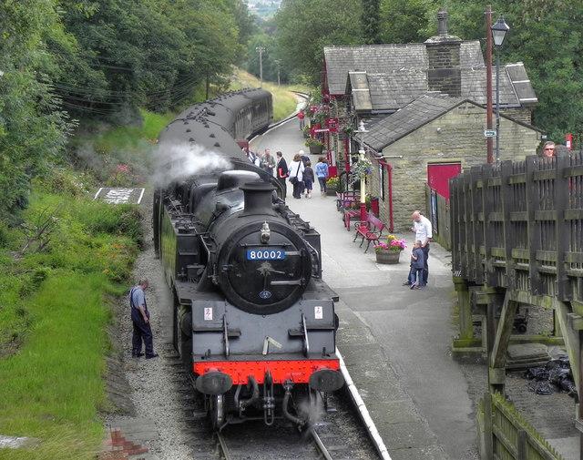 steam locomotive at haworth station  u00a9 david dixon