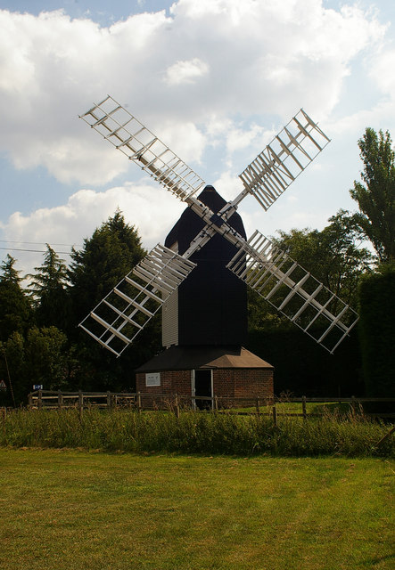 Recently restored windmill, Cromer, Hertfordshire
