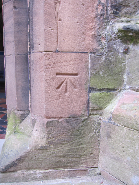 Bench mark on the church of St Laurence