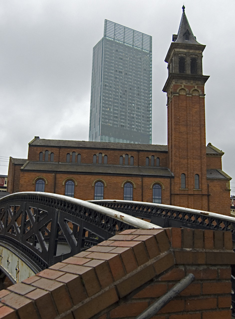 Bridge, church, tower, Manchester