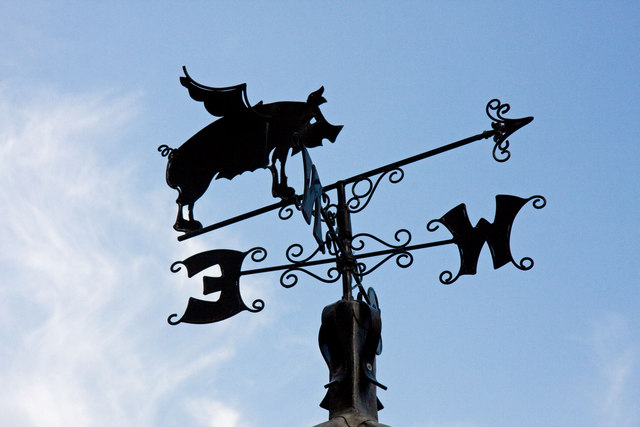 Flying Pig Wind Vane on Youlgrave Village Hall