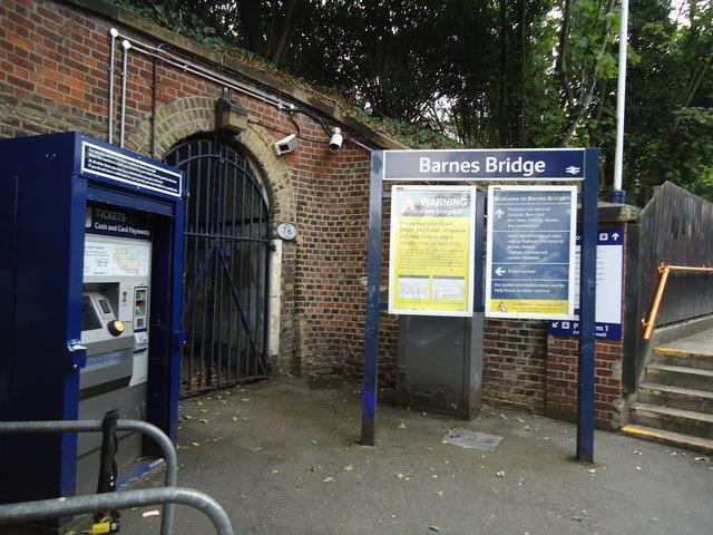 Signs at Barnes Bridge railway station © Stacey Harris cc ...