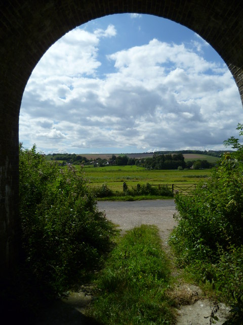 View from disused tunnel under railway at Amberley