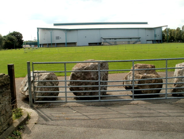 Boulders block field entrance, Nash Road, Newport