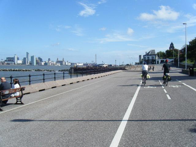 Egremont Promenade and Liverpool skyline beyond